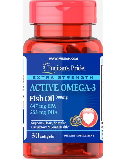 Омега (рыбий жир) EXTRA STRENGTH ACTIVE OMEGA-3 (30 caps) Puritan's Pride. Фото | Add Power
